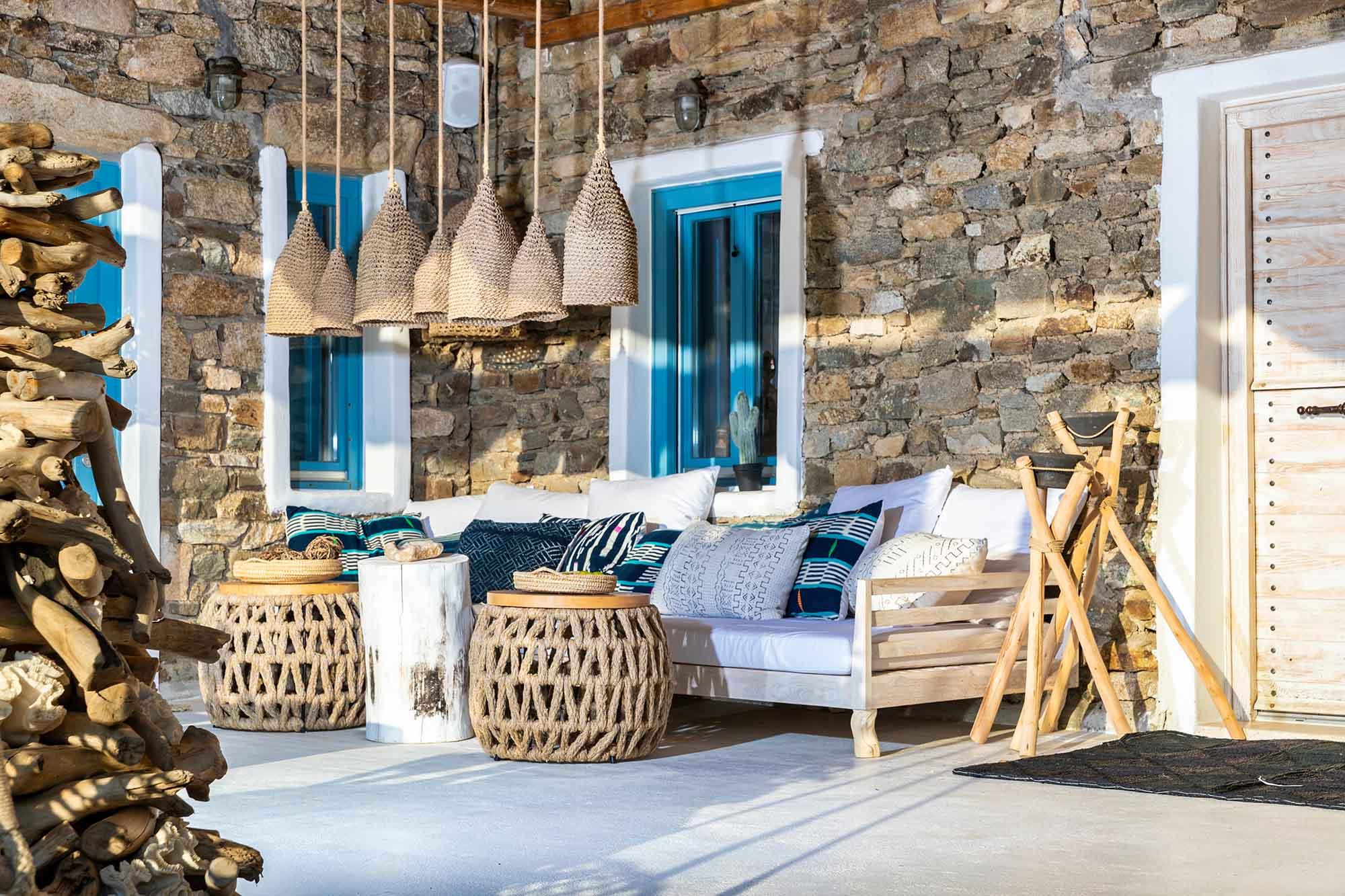 RENT A LUXURIOUS VILLA BY THE SEA IN MYKONOS - VILLA KARKOS - beautiful terrace