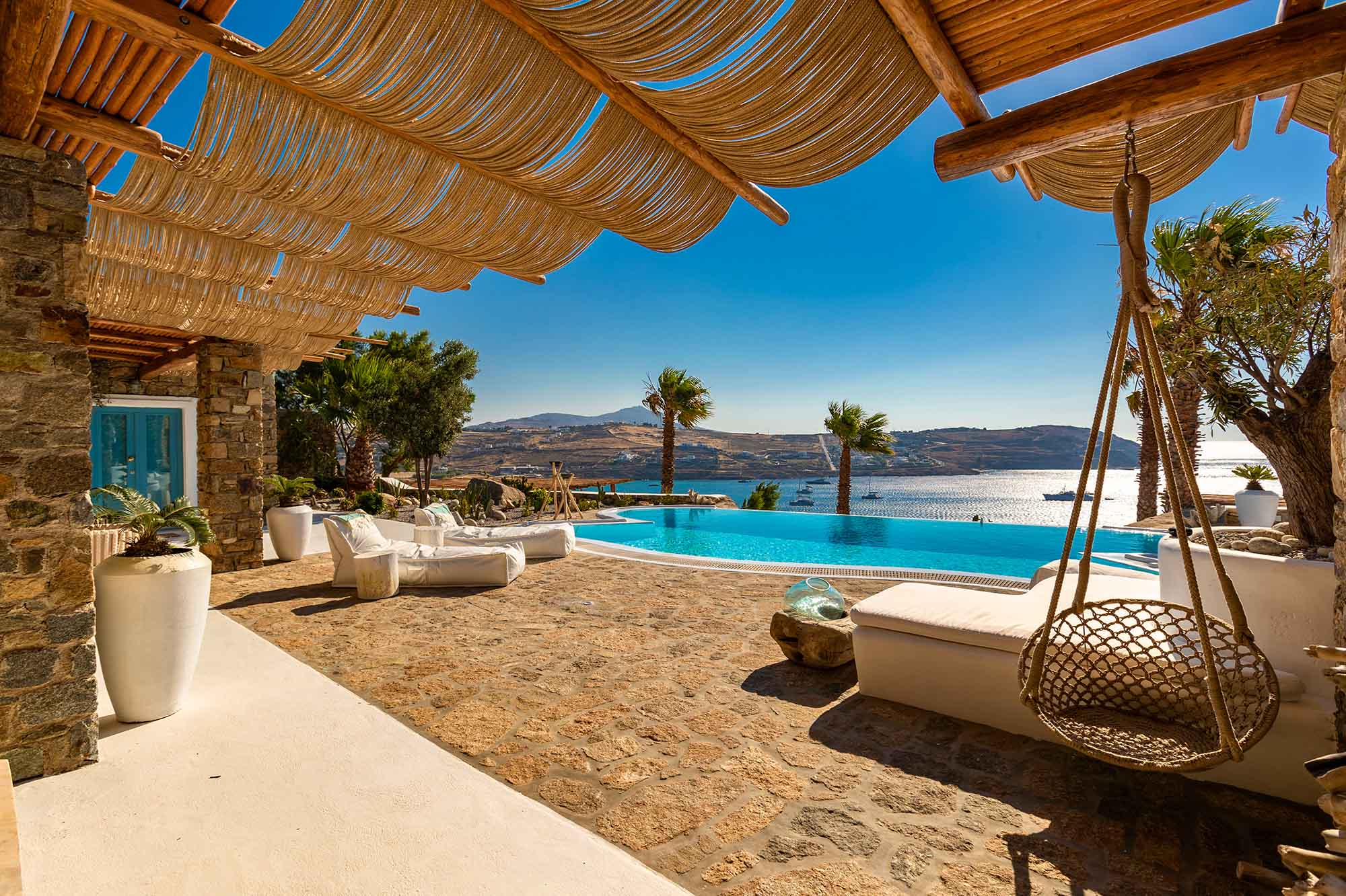 RENT A LUXURIOUS VILLA BY THE SEA IN MYKONOS - VILLA KARKOS - mountain and sea view